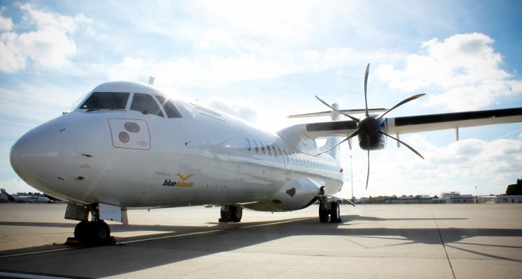Blue Islands ATR-72 on stand