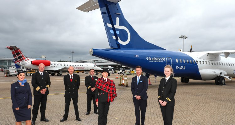 Blue Islands and Loganair planes at Southampton Airport