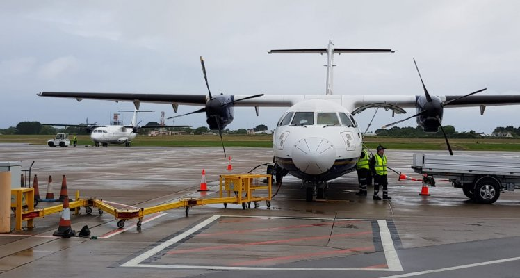 Blue Islands aircraft on stand Guernsey Airport