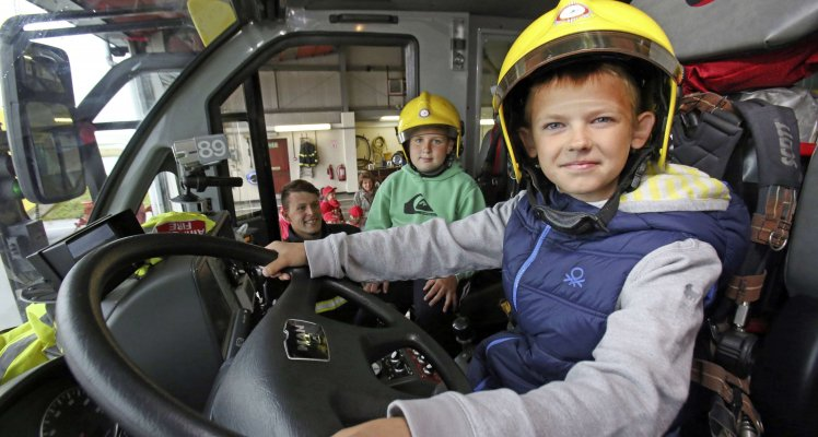 Chernobyl children tour the Airport Fire Station
