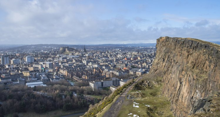 Edinburgh skyline seen Salisbury Crags