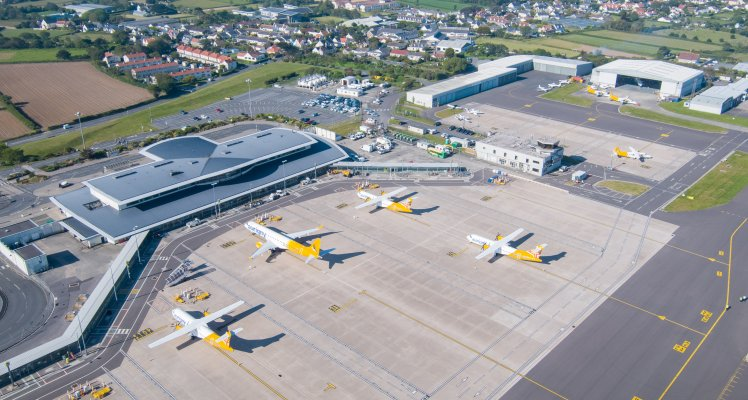 Guernsey Airport Apron from the air