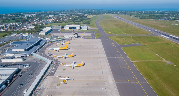 Guernsey Airport apron area from the sky