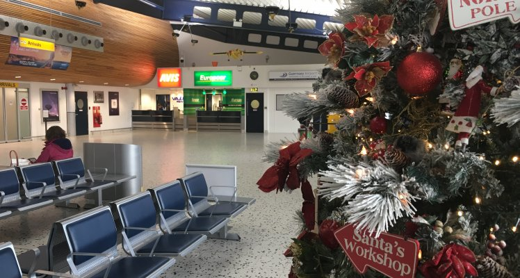Guernsey Airport Passenger Terminal with Christmas tree