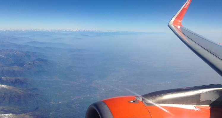 easyJet plane over the Italian Alps
