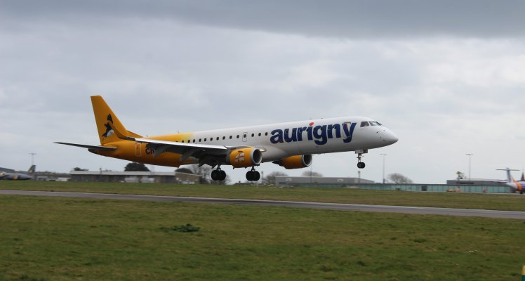 Aurigny Jet landing at Guernsey Airport