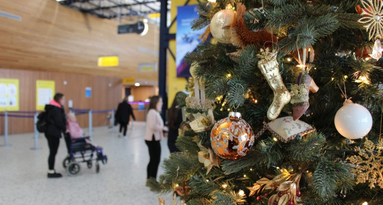 Christmas Tree and decorations at the Guernsey Airport passenger terminal