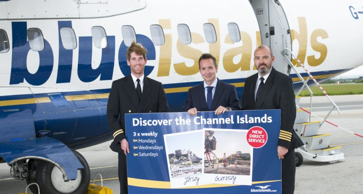 (L-R) Henry Lucas (First Officer, Blue Islands), Al Titterington (Managing Director, Cornwall Airport Newquay) and Dougie Hoblyn (Chief Operations Officer / Accountable Manager, Blue Islands).