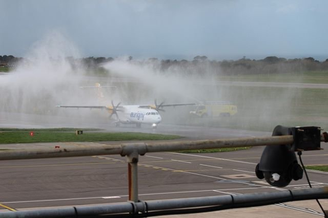 Today 12th March the Guernsey Airport Fire and Rescue Service gave a water salute for the first aurignygsy exeterairport service from Guernsey.