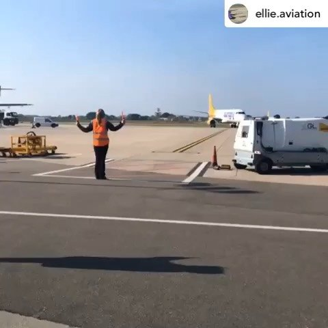Posted withrepost  ellie.aviation  TDog bringing in the big bird onto stand. #aviationdaily #aviation4u #dispatcherproblems #aurignyairservices #planes #embraer195 #planespotting #dispatcher #guernseyairport #jet