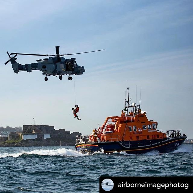 Posted withrepost  airborneimagephotog Something a bit different today with the royalnavy guernseylifeboat #815 #wildcat royalnavyblackcats