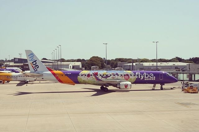 Colourful Flybe Embraer operating through #guernseyairport recently