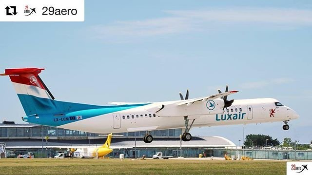 Another view of the Luxair Bombardier Dash 8 Q400 at #guernseyairport last week  Great photo by 29aero