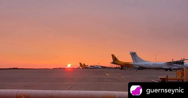 Posted withrepost  guernseynic Sunrise guernseyairport .......#sunrise #airplane #airport #art #jetplane #jet