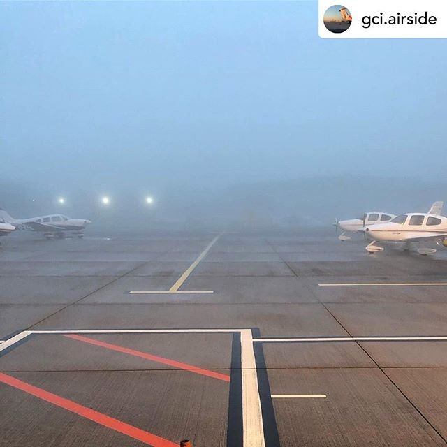 Posted withrepost  gci.airside Photo last week when the fog rolled in.#fog #foggy #anglonormandy #hanger #asg #guernseyairport #avgeek #airport #egjb #aviationgeek #aviationphoto #aircraft #travel #aviation #aviation4u #avpic #jetpic #guernsey #airplane