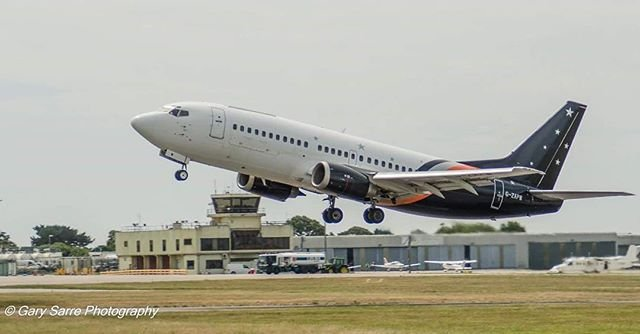 Another great shot of Titan Airways Boeing 737 taking off at #guernseyairport  Photo by garysarre