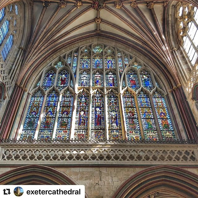 #Repost exetercathedral with makerepostEast Window #onfleek. Top light streaming in yesterday for our visitors. ........#exeter #exetercathedral #stainedglass #window #churches #cathedral #churchofengland #oldbuildings #archilovers #medieval #gothic #lookup #devon #insta #iphoneography #visitexeter #buildings #architecturephotography #ventana #flybe