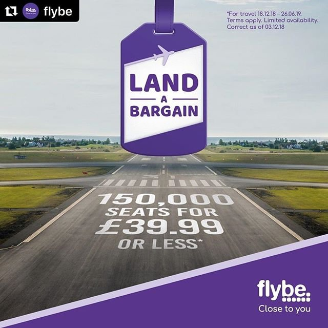#Repost flybe with makerepostWe have 150,000 seats for 39.99 or less. With travel from 18th December 2018 through to 26th June 2019, grab a getaway and discover the best of the UK and Europe now!