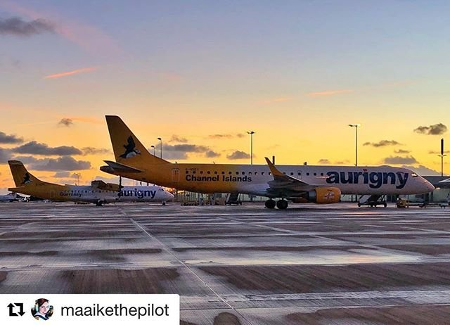 #Repost maaikethepilot with getrepostThe beautiful pride of the Aurigny fleet and the embraer