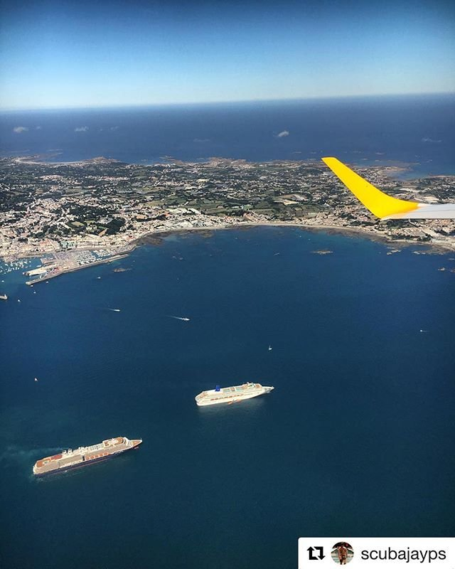 #Repost scubajayps with getrepostLovely view of #home #Guernsey flying off to the foos gig #cruiseship #visitguernsey #sun #island #view #plane #birdeyeview #guernseyharbours