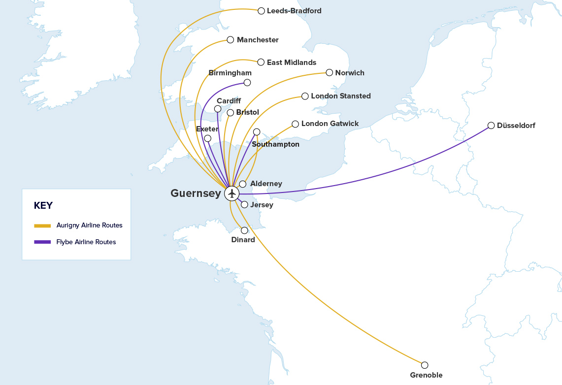 Guernsey Airport Route Map